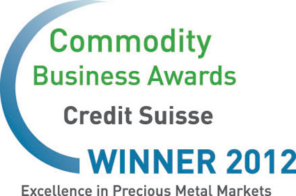Credit Suisse, Commodity Business Awards 2012, Winner